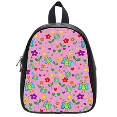 Cute butterflies and flowers pattern - pink School Bags (Small)