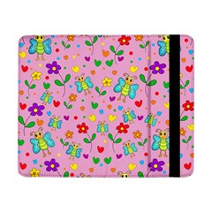 Cute Butterflies And Flowers Pattern   Pink Samsung Galaxy Tab Pro 8 4  Flip Case