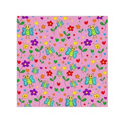 Cute butterflies and flowers pattern - pink Small Satin Scarf (Square)