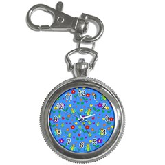 Cute butterflies and flowers pattern - blue Key Chain Watches