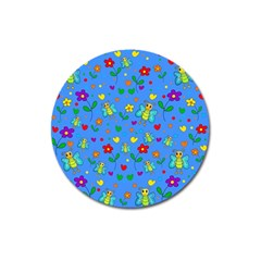 Cute butterflies and flowers pattern - blue Magnet 3  (Round)