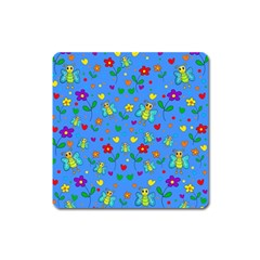 Cute butterflies and flowers pattern - blue Square Magnet