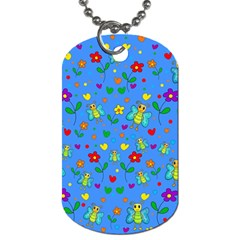 Cute butterflies and flowers pattern - blue Dog Tag (One Side)