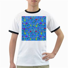 Cute butterflies and flowers pattern - blue Ringer T-Shirts