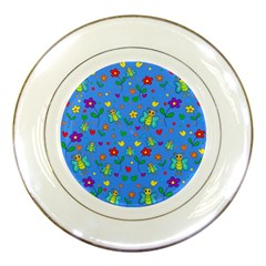 Cute butterflies and flowers pattern - blue Porcelain Plates