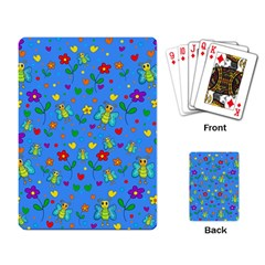 Cute butterflies and flowers pattern - blue Playing Card