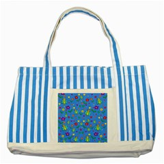 Cute butterflies and flowers pattern - blue Striped Blue Tote Bag