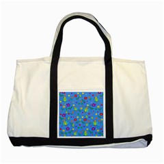 Cute butterflies and flowers pattern - blue Two Tone Tote Bag