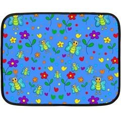Cute butterflies and flowers pattern - blue Double Sided Fleece Blanket (Mini)