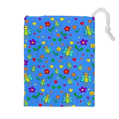 Cute butterflies and flowers pattern - blue Drawstring Pouches (Extra Large)