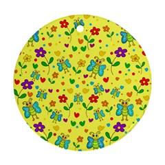 Cute butterflies and flowers - yellow Ornament (Round)