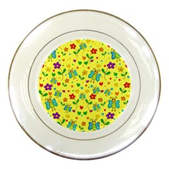 Cute Butterflies And Flowers   Yellow Porcelain Plates