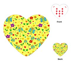 Cute butterflies and flowers - yellow Playing Cards (Heart)