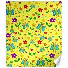 Cute butterflies and flowers - yellow Canvas 20  x 24