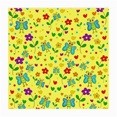 Cute butterflies and flowers - yellow Medium Glasses Cloth (2-Side)