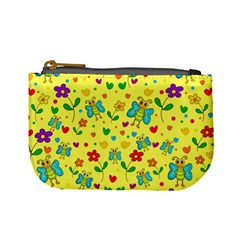 Cute butterflies and flowers - yellow Mini Coin Purses