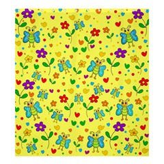 Cute butterflies and flowers - yellow Shower Curtain 66  x 72  (Large)