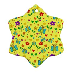 Cute Butterflies And Flowers   Yellow Snowflake Ornament (two Sides)