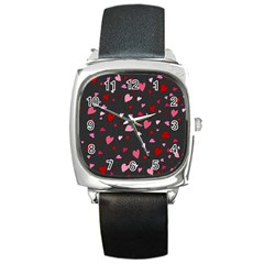 Hearts pattern Square Metal Watch