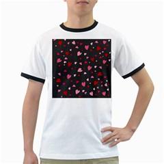Hearts pattern Ringer T-Shirts