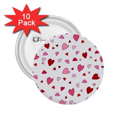 Valentine s Day Hearts 2 25  Buttons (10 Pack)