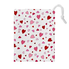 Valentine s day hearts Drawstring Pouches (Extra Large)
