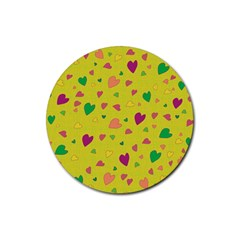 Colorful hearts Rubber Coaster (Round)