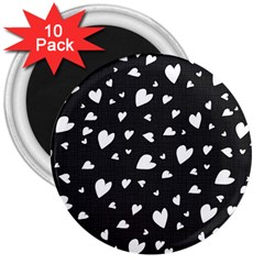 Black and white hearts pattern 3  Magnets (10 pack)