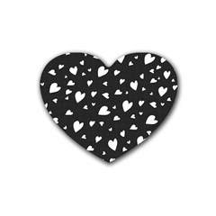 Black and white hearts pattern Heart Coaster (4 pack)