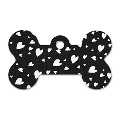 Black and white hearts pattern Dog Tag Bone (One Side)