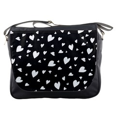 Black And White Hearts Pattern Messenger Bags
