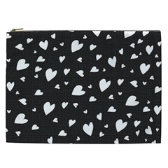 Black And White Hearts Pattern Cosmetic Bag (xxl)