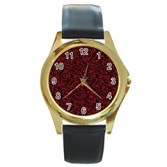 Red coral pattern Round Gold Metal Watch