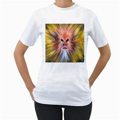 Monster Ghost Horror Face Women s T-Shirt (White) (Two Sided)