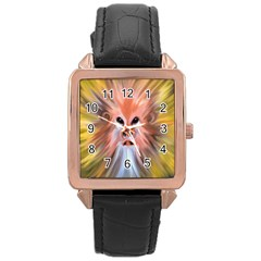 Monster Ghost Horror Face Rose Gold Leather Watch