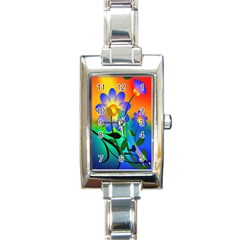 Abstract Flowers Bird Artwork Rectangle Italian Charm Watch
