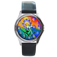 Abstract Flowers Bird Artwork Round Metal Watch