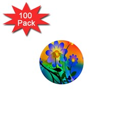 Abstract Flowers Bird Artwork 1  Mini Magnets (100 pack)