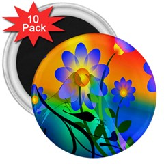 Abstract Flowers Bird Artwork 3  Magnets (10 pack)