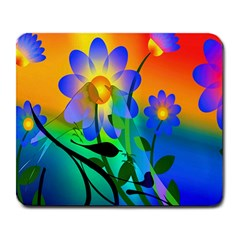 Abstract Flowers Bird Artwork Large Mousepads