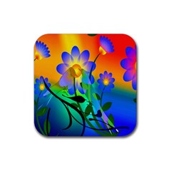 Abstract Flowers Bird Artwork Rubber Coaster (Square)