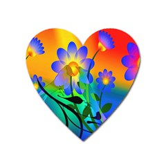 Abstract Flowers Bird Artwork Heart Magnet