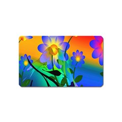 Abstract Flowers Bird Artwork Magnet (Name Card)
