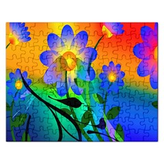 Abstract Flowers Bird Artwork Rectangular Jigsaw Puzzl