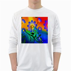 Abstract Flowers Bird Artwork White Long Sleeve T-Shirts