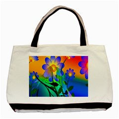 Abstract Flowers Bird Artwork Basic Tote Bag