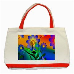 Abstract Flowers Bird Artwork Classic Tote Bag (Red)