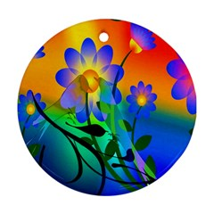 Abstract Flowers Bird Artwork Round Ornament (Two Sides)