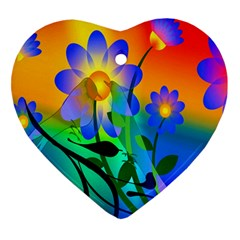 Abstract Flowers Bird Artwork Heart Ornament (Two Sides)