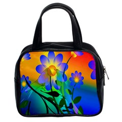 Abstract Flowers Bird Artwork Classic Handbags (2 Sides)
